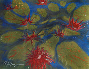 Lilly Pond Paintings - Water Lilly Pond by Roger Ferguson