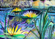 Reflections Mixed Media Originals - Water Lily Blues by Mindy Newman
