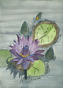Sea Green Posters - Water lily Poster by Eva Ason