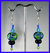 Earrings Jewelry - Water Lily Lamp work Beads with sterling and Swarovski crystals by Cheryl Brumfield Knox