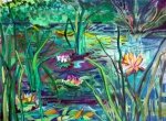 Greens Mixed Media Framed Prints - Water Lily Pond Framed Print by Mindy Newman