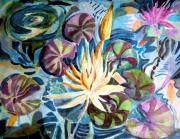 Pool Drawings Posters - Water Lily Reflections Poster by Mindy Newman