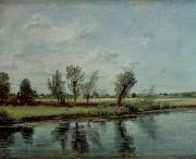 Tranquil Paintings - Water Meadows near Salisbury by John Constable