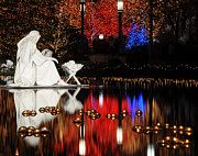 Temple Square Framed Prints - Water Nativity Scene at Night Framed Print by Gary Whitton