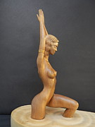 Modern Sculptures - Water Nymph - Wood Sculpture of Naked Woman by Carlos Baez Barrueto