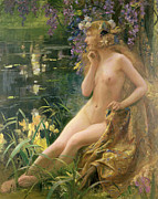 Flowers In Her Hair Framed Prints - Water Nymph Framed Print by Gaston Bussiere