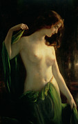 Green Dress Framed Prints - Water Nymph Framed Print by Otto Theodor Gustav Lingner