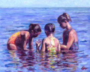 Sisters Paintings - Water nymphs by Michael Camp