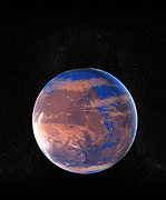Planet Mars Prints - Water On A Prehistoric Mars Print by Christian Darkin