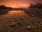 Red Sky Metal Prints - Water on Mars Metal Print by Davorin Mance