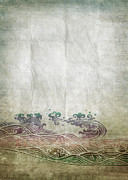Manuscript Photo Prints - Water Pattern On Old Paper Print by Setsiri Silapasuwanchai
