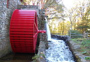 Wayside Inn Posters - Water Powered Grist Mill Wheel Poster by John Small