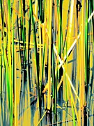 Dried Reeds Posters - Water Reeds Two Yellow Poster by Beth Akerman