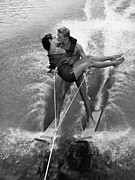 Heterosexual Couple Framed Prints - Water-ski Kiss Framed Print by Keystone