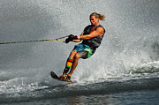 Outdoor Activity Photos - Water Skiing Magic of Water 24 by Bob Christopher
