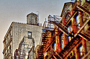 New York City Fire Escapes Posters - Water Tank in New York Poster by Alex AG
