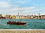 Water Taxi Framed Prints - Water Taxi On The Grand Canal In Venice Framed Print by Linda Pulvermacher