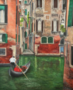 Italian Landscape Painting Originals - Water Taxi On Venice Side Canal by Charlotte Blanchard