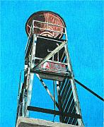 Grey Drawings Framed Prints - Water Tower Framed Print by Glenda Zuckerman