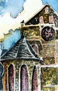 Bird Art Drawings Prints - Water Tower of Canterbury Cathedral Print by Mindy Newman