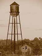 Factory Metal Prints - Water Tower Metal Print by Olivier Le Queinec