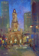 Chicago Pastels Posters - Water Tower Place Poster by Karen Margulis