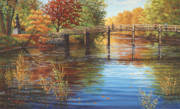 Old North Bridge Paintings - Water Under the Bridge Old North Bridge MA by Elaine Farmer