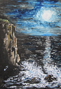Sea Moon Full Moon Paintings - Water Under the Moonligt by Cheryl Pettigrew