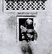 Decant Posters - Water vendor in Jaipur Poster by Shaun Higson