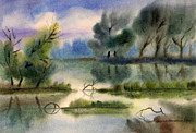 Fresh Pastels Originals - Water view landscape by Cristina Movileanu