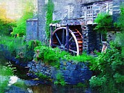 Waterwheel Posters - Water Wheel Poster by Amanda Moore