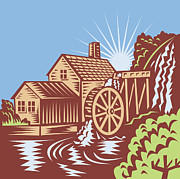 Water Flowing Digital Art Posters - Water Wheel Mill House Retro Poster by Aloysius Patrimonio