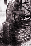 Historic Country Store Posters - Water Wheel Old Mill Cherokee North Carolina  Poster by Susanne Van Hulst