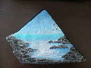 Calm Sculpture Prints - Water With Rocks Print by Monika Dickson