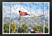 Sport Photography Originals - Watercoler Puzzle Design Of Pole Vault Jump by John Vito Figorito
