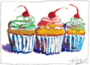 Notecards Painting Prints - Watercolor Cupcake 11 Print by Michele Hollister - for Nancy Asbell