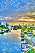 Miami River Photos - Watercolor Dawn by William Wetmore