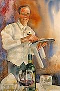 Waiter Metal Prints - Watercolor Dining Metal Print by Wendy Hill