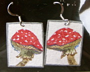 Watercolor  Jewelry - Watercolor Earrings Amanita by Beverley Harper Tinsley
