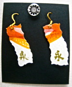 Hand Painted Jewelry - Watercolor Earrings Eternity Orange White Gold by Beverley Harper Tinsley
