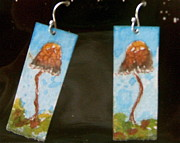 Psychedelic Jewelry - Watercolor Earrings Slender  Mushroom by Beverley Harper Tinsley