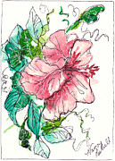 Notecards Painting Prints - Watercolor Flower In Pink Print by Michele Hollister - for Nancy Asbell