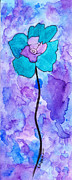 Kpappert Posters - Watercolor Flower Teal Poster by Karen Pappert