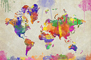 Drips Digital Art - Watercolor Impression World Map by Zaira Dzhaubaeva