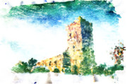 Panoramic Digital Art - Watercolor Landscape by Andrea Barbieri