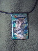 Hand Painted Pendant Jewelry - Watercolor Landscape from Chinese Scrolls Series by Asya Ostrovsky