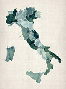 Italian Digital Art Framed Prints - Watercolor Map of Italy Framed Print by Michael Tompsett