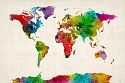 Planet Digital Art Posters - Watercolor Map of the World Map Poster by Michael Tompsett