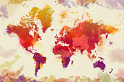 Paints Posters - Watercolor Map Poster by Zaira Dzhaubaeva
