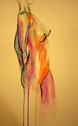 Neck Drawings - Watercolor Nude by Julie Lueders